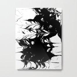 Marble black and white 3 Suminagashi watercolor pattern art pisces water wave ocean minimal design Metal Print