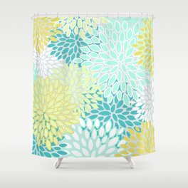Floral Abstract Summer Pattern, Teal, Mint Green, Yellow Shower Curtain