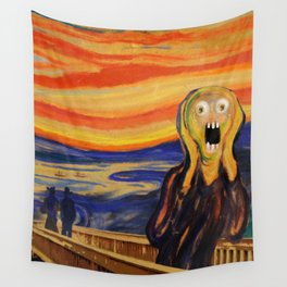 The Screamer - Really Freaked Out Wall Tapestry