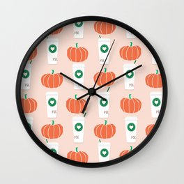 Pumpkin spiced latte fall autumn winter seasonal coffee drinks pattern print for foodie Wall Clock
