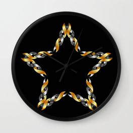 A decorative Celtic fractal flower in metallic colors Wall Clock