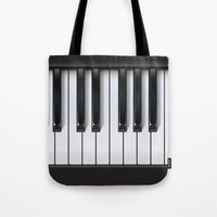 piano Tote Bags featuring Piano by rob art | illustration