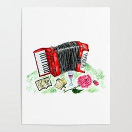 Retro red accordion Poster