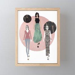 Polka Dots & Rose Gold Framed Mini Art Print