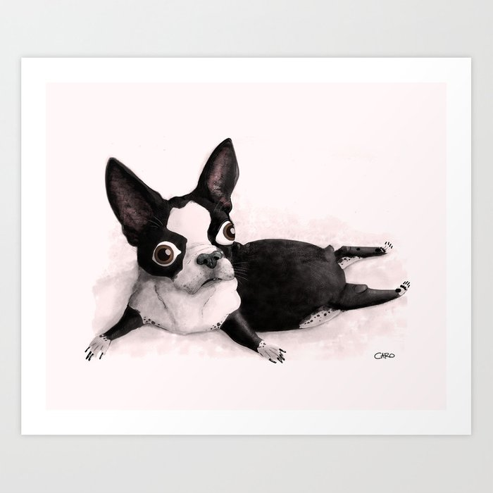 fat boston terrier the little fat boston terrier art print by pilitoons 3524