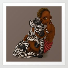Boy and Zebra Art Print