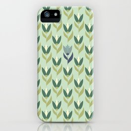 Field of Tulips green background iPhone Case