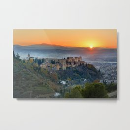 Red sunset at The Alhambra Palace Metal Print