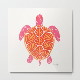 Sea Turtle – Melon Palette Metal Print