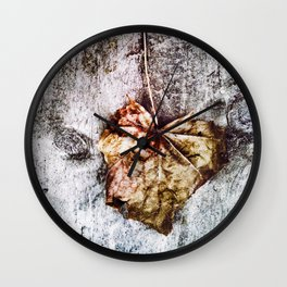 203 - abstract Gold/bronze leaf on wood design Wall Clock