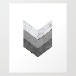 Marble Gray Copper Black Gold Chevron Art Print