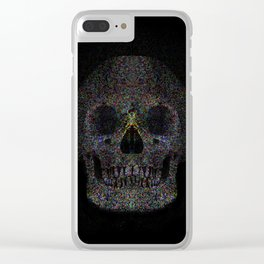 A stippled impressionist take on a skull emerging from a black background Clear iPhone Case