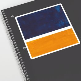Navy Blue Yellow Ochre Abstract Minimalist Rothko Colorful Mid Century Color Block Pattern Sticker