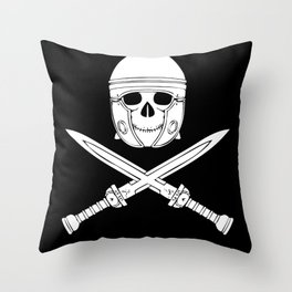 Skull Soldier Gladiator With Swords Throw Pillow