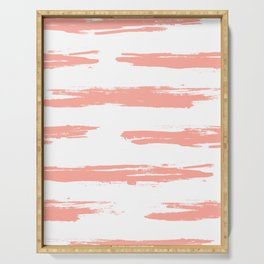 Pretty Pink Brush Stripes Horizontal Serving Tray