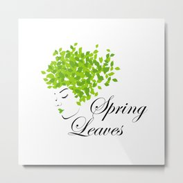 Mother nature with green leaves of spring as her hair- earth day Metal Print