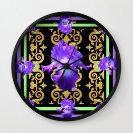 Black-Purple Art Deco Iris Pattern Art design Wall Clock