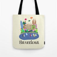 barcelona Tote Bags featuring Barcelona  by uzualsunday