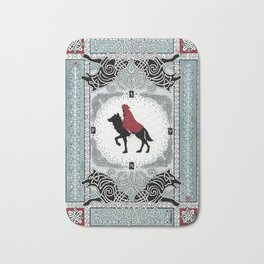 Red and Wolf Bath Mat