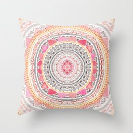 Pastel Bohemian Mandala Throw Pillow