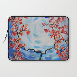 Blue sky Red cherry blossom tree bird painting by Ksavera Laptop Sleeve