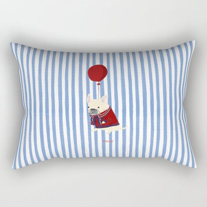 French Bulldog with Stripe Rectangular Pillow