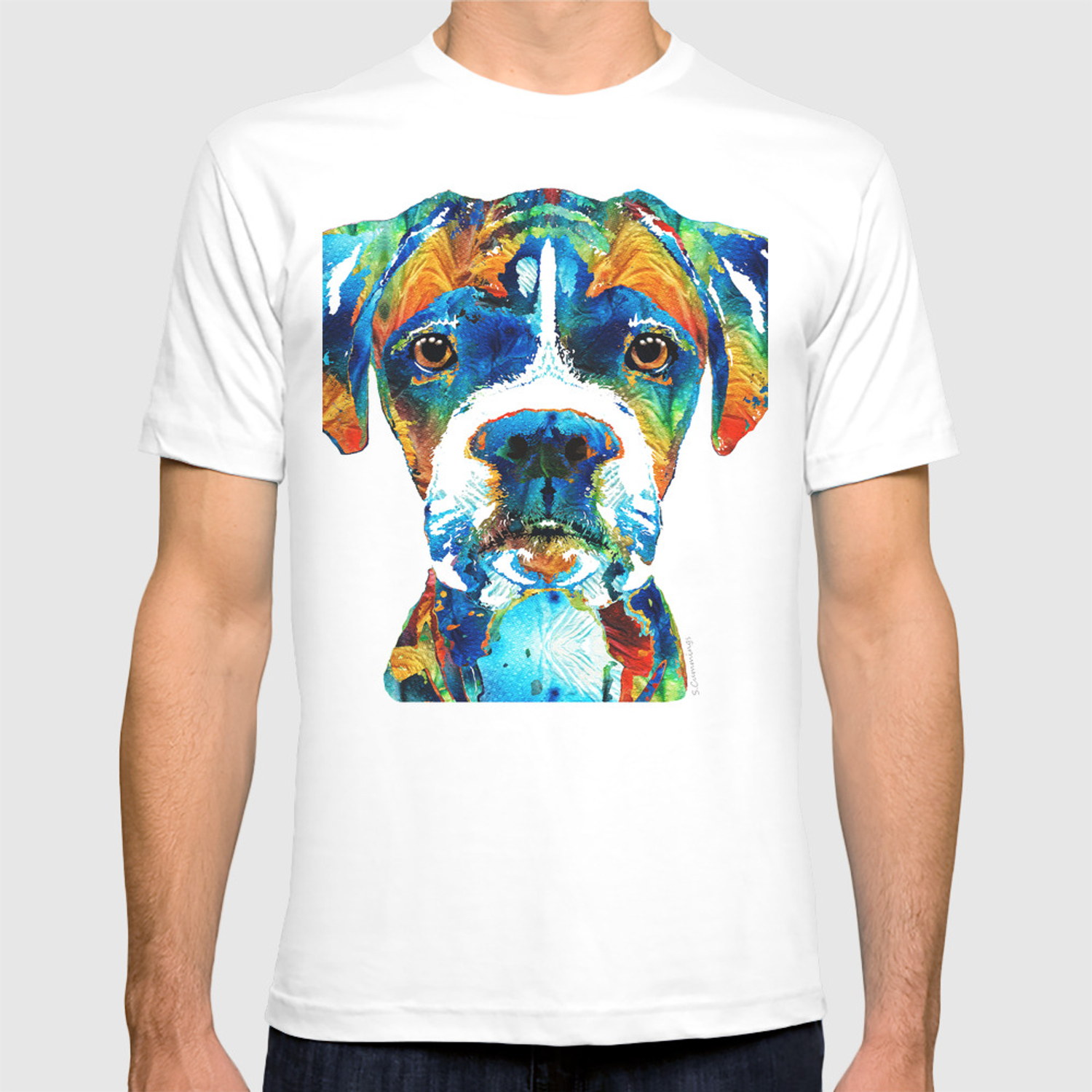Colorful Boxer Dog Art By Sharon