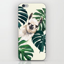 Sneaky Llama with Monstera iPhone Skin