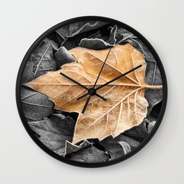 Frosty Leaves Wall Clock