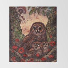 Tawny Owlets Throw Blanket