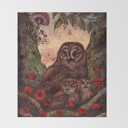 Tawny Owlets Throw Blanket