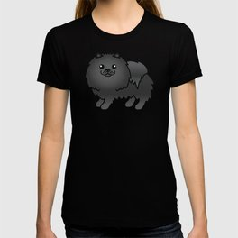 Black Pomeranian Dog Cute Cartoon Illustration T-shirt