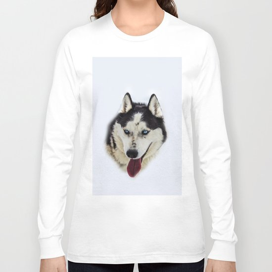 Siberian Husky with blue eyes Long Sleeve T-shirt