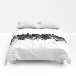 Montreal skyline in black watercolor Comforters