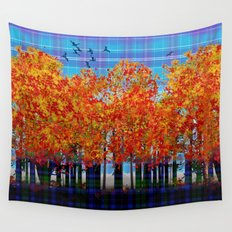 Fall Leaves On Plaid Wall Tapestry