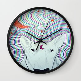 The dog and the moon Wall Clock