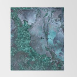 Malachite Glitter Stone and Ink Abstract Gem Glamour Marble Throw Blanket