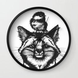 Little Fox & Bluetit (Kleiner Fuchs und Blaumeise) Friends - You & Me Wall Clock