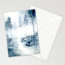 loose watercolor forest Stationery Cards