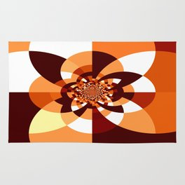 Orange Brown Cream Kaleidoscope Rug