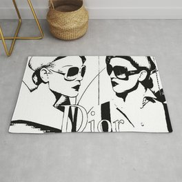 Sketched Fashion White on Black Rug