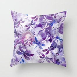 Dragonfly Lullaby in Pantone Ultraviolet Purple Throw Pillow