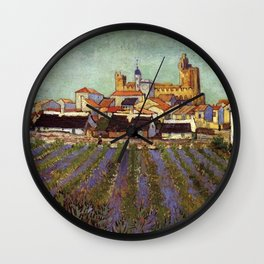 Lavender fields and View of Saintes-Maries by Vincent van Gogh Wall Clock