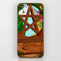 pagan iPhone & iPod Skins featuring Oasis Pagan Folk Art by BohemianBound