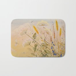 dragonfly and flowers Bath Mat