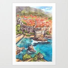 Dubrovnik Croatia ink & watercolor illustration Art Print