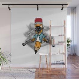 Gangsta pencil with guns illustration. Yellow pen with bandana mask on face, criminal t-shirt print. Wall Mural