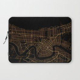 Black and gold New Orleans map Laptop Sleeve