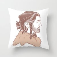 "thorin Throw Pillows featuring Thorin 'Manbun"" Oakenshield by rdjpwns"