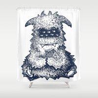 butcher billy Shower Curtains featuring Billy Monster by Anna Koleszko